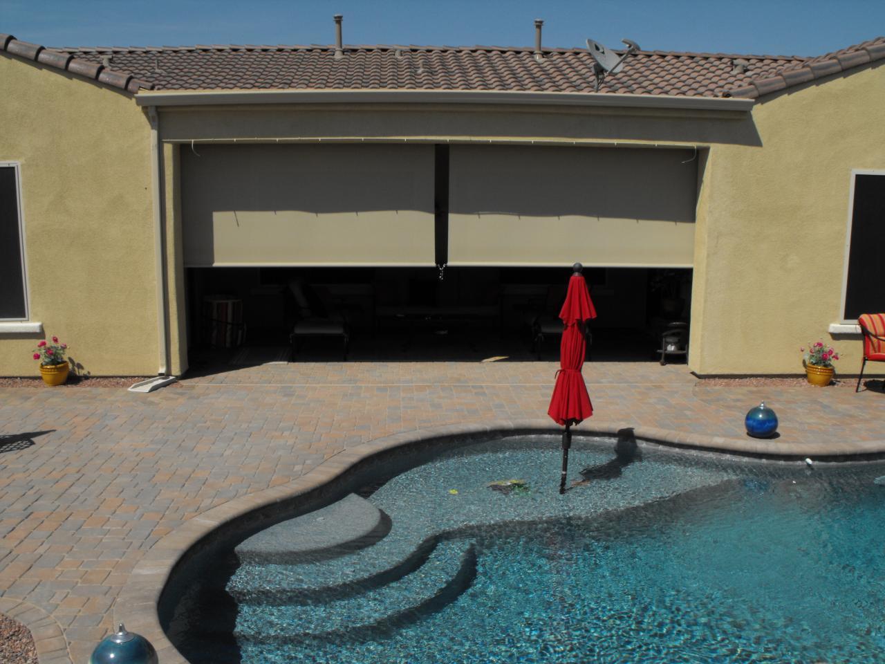 DROPSHADE - Patio sombras paralelas, protector solar retráctil motorizada y el interior de la ventana Persianas (propiedad familiar operada)